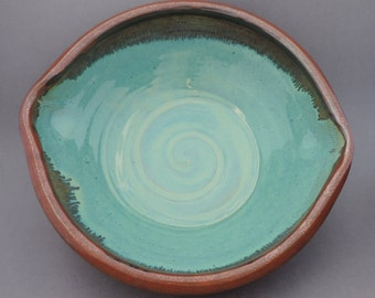 Large Bowl, Turquoise Swirl, Ready to Ship