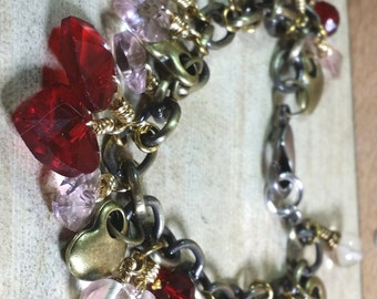 """Hearts and Brass Bracelet, 7.75"""""""