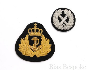 Silver and Gold Bullion Wire Embroidered Badges in Two Styles