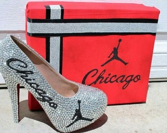Chicago Bulls Inspired Rhinestone Heels| Glitter shoes| Sparkle |Air Jordan Sparkley|Red and Black |Silver