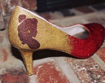 Belle Two Toned Sparkly Shoes  Gold and Red Glitter  Beauty and the Beast Rhinestone Heels
