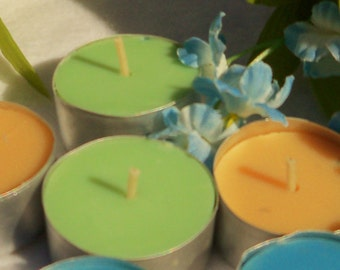 Soy Wax Tealights - choose your color and scent, 6 pack of Soy Wax Tealights