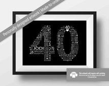 40th Birthday Gift For Women / Friend / Mom / Sister / Personalised / Custom Word Art / Typography / 11x14 / Black and White / Monochrome