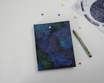 Space Painted Handmade Hardbound Black Paper Notebook Journal