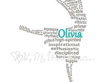 Dancer Art, Lyrical Dancer Art, Modern Dancer Art, Contemporary Dancer Art, Personalized Word Art Typography,  PRINTABLE DIGITAL FILE