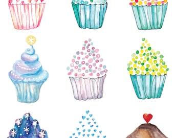 Cupcake Poster, Cupcake Print,  Celebration Print, Cupcake Art, Birthday Printable, Cupcake Printable, Food Art, Kitchen Decor, KitchenPrint