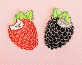 """Berry Kittens 2.5"""" Embroidered Iron-on Patches"""