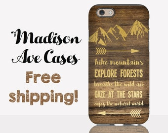 Hike Mountains Explore Forests Adventure Arrow Camping Exploring Wild Travel Wood Gold Samsung Galaxy S5 S6 S7 iPhone 4 5 6 6s 7 Phone Case