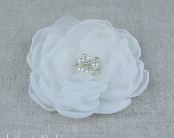 Ivory Chiffon Rhinestone Pearl Bridal Wedding Hair Flower