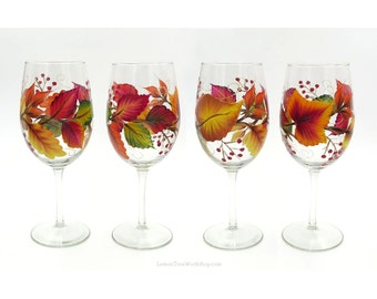 Hand Painted Autumn Leaves Wine Glasses Set of 4 Thanksgiving Decor Fall leaves