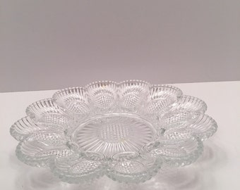 Vintage Indiana Glass Egg  and Relish Dish ~ Thousand Eyes ~ Hobnail Design ~Small Bubbles ~  Deviled Eggs