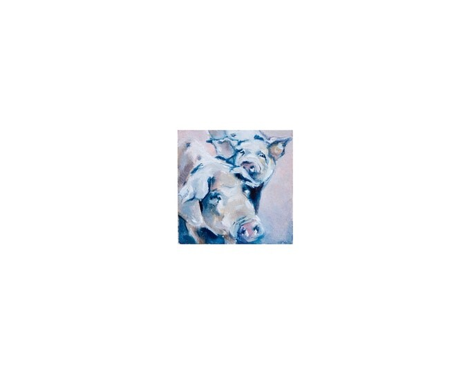 """Print of miniature painting of a Pigs. 1 1/4"""" x 1 1/4"""" print of original pigs painting on 5"""" square german etching paper"""