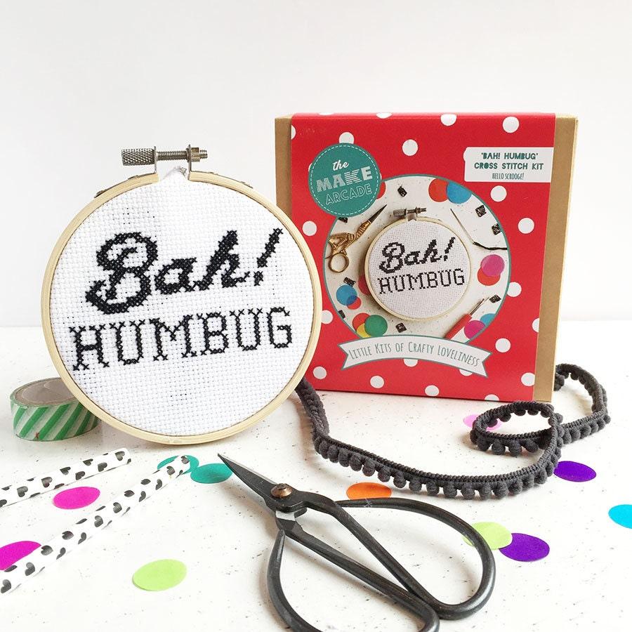 Bah humbug cross stitch kit christmas gifts anti christmas for Bah humbug door decoration