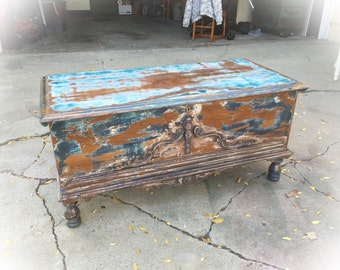 SOLD - Antique Storage Bench, refinished inside & out, farmhouse bench w/ ornate wooden detailing, entryway bench, antique hope chest, trunk