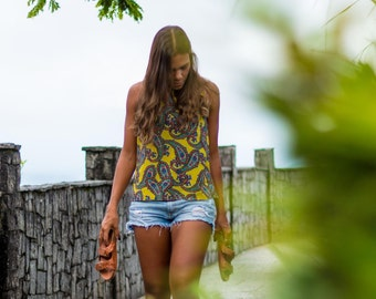 Colocsty Yellow Forest Crop Top  / Blouse /Summer Shirt/ Festival Tops / Beach Top /Summer Tops/ Halter Top /Spring Break