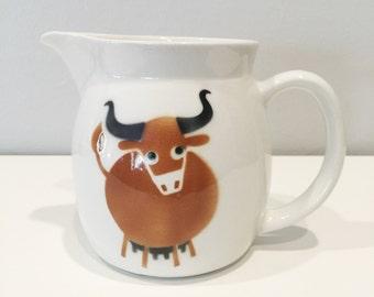 vintage Arabia Finland Heluna bull pitcher brown Kaj Franck