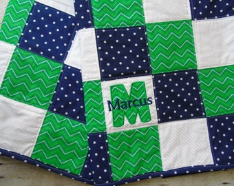 Personalized Baby Quilt, Baby Quilt with name, Blue, Green and White Baby Quilt, Embroidered Name Baby Quilt, Baby Blanket, Nursery Bedding