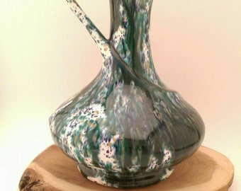 Mid Century Green and Blue California Pottery Pitcher or Vase