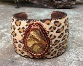 Biggs Jasper Cuff - African Sunset - Bead Embroidery Statement Bracelet - Gemstone Cuff - Leopard Print Ultra Suede - Trending Style