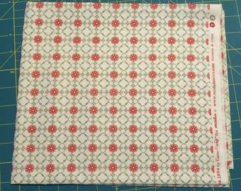 Cosmo Cricket Circa 1934 cotton quilting fabric #37005 green Red Fat Quarter