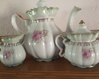 Hand Painted Nippon Teapot, Creamer, Sugar