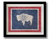 "Wyoming Flag Print - 11x14"""