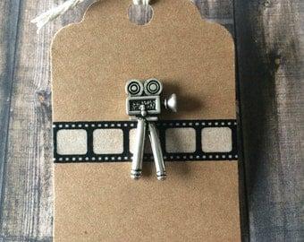 Movie Camera Lapel Pin / Tie Tack - Antique Bronze Tone - Film Buff Pin - 3D