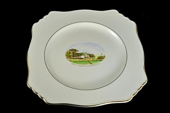 Royal Winton Grimwades Plate, Green Gables, Cavendish, P.E.I., Souvenir Plate, White, Center Decal, Gold Trim, Square Plate, Collectible