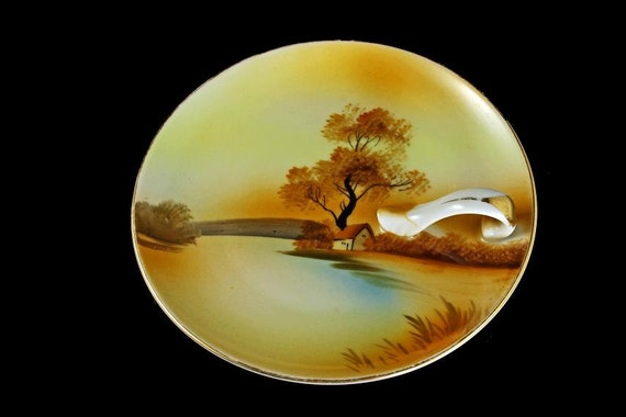 Noritake Lemon Dish,  Lemon Tray, Tray With Handle, Hand Painted China, Tree In The Meadow