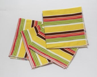 Striped napkins, retro cloth napkins, yellow napkins, cotton napkins, retro decor, lunch bag supplies, nostalgic decor, 12x12 set of 4