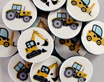 Construction Vehicle Buttons - Yellow 18mm