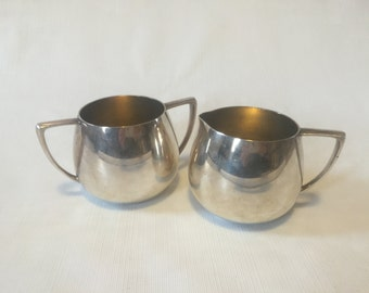 Vintage Silver Sugar & Creamer Set - Empire Crafts Quadruple Plate