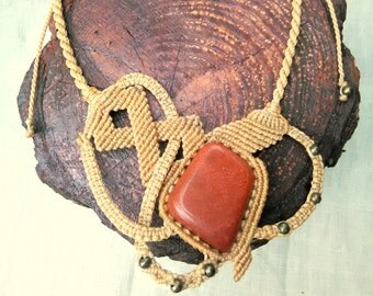 Macrame necklace with red aventurine stone and brass