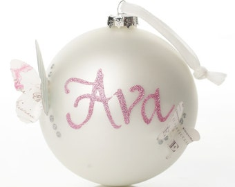 Personalised Pearl Butterfly Artisan Bauble