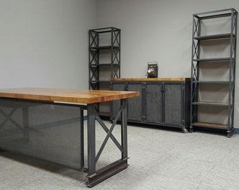 complete industrial office set upcarruca desk industrial credenza 2 x steel frame helvetica shelving unit carruca desk office