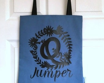 Blue Q Jumper Tote, Funny Black Print Slogan Bag, Queue Jumper Tote Bag, 100% Cotton Tote, Slogan Shopper Bag, Shopping Gift For Her