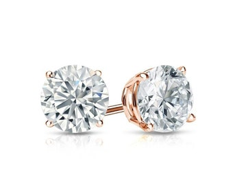 Tiny Stud Earrings, Earrings Stud Tiny, Stud Earrings Tiny, 2 ct Simulated Diamond Round Cut Solitaire Earrings 14k Rose Gold Screw Back