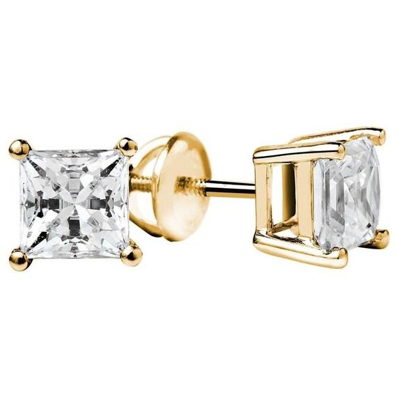 Set Of Gold Studs, Set Of Studs, Gold Studs, Gold Stud, Set Of Stud, 2.0Ct Princess Cut Solitaire Stud Earrings Solid 14k Yellow Screw Back