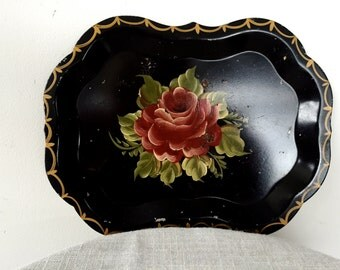 Vintage Hand Painted Black Dresser Tray, Small 1950s Tole Flowered Painted Metal Tray Scalloped Edges, Toleware Tin Floral Tray