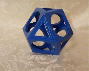 Blue Geometric Cube