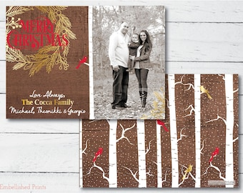Faux Wood Photo Christmas Card
