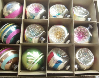 Assorted Dozen Shiny Brite Indent and Round Christmas Ornaments