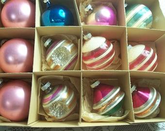 Twelve Assorted Shiny Brite Christmas Ornaments