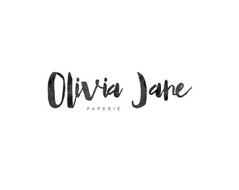 minimal watercolor logo - olivia jane - premade logo - business logo - custom logo - watercolor - photography logo - branding