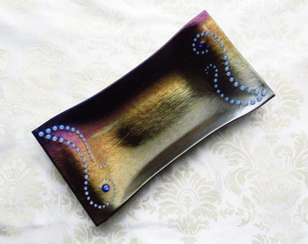 Medium Fused Glass Tray in Iridescent Black with Opalescent and Dichroic Glass Gem Accents