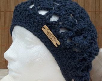Women beret fact handmade Navy