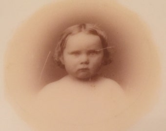 Antique Victorian Memorial Phototransfer on Milk Glass of Child Hattie 1868