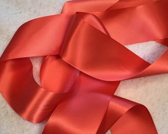 Coral Satin Ribbon/Watermelon Ribbon/Coral Bridal Belt/Melon Wedding Sash/Coral Bridal Sash/Coral Wedding/Coral Wedding Sash/Coral Ribbon