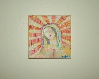 """6"""" x 6"""" Oil on Canvas Virgin Mary Religious Artist Signed Original Painting"""