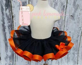 Halloween Short Tutu, Black and Orange Satin Ribbon Trim, Sewn Tutu, Birthday Tutu, Pageant Tutu, Photo Prop, Toddler Tutu, Princess Tutu